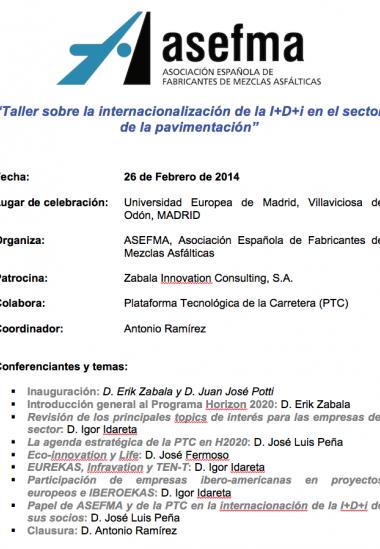 Taller sobre la internacionalización de la I+D+i en el sector de la pavimentación
