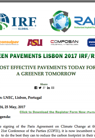 Green Pavements Lisbon 2017 IRF/RAF