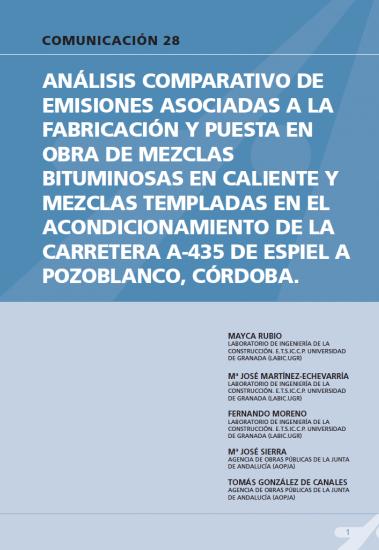 Análisis comparativo de emisiones asociadas a la fabricación y puesta en obra de mezclas bituminosas en caliente y mezclas templadas en el acondicionamiento de la carretera A-435 de Espiel a Pozoblanco, Córdoba