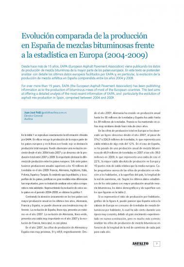 Evolución comparada de la producción en España de mezclas bituminosas frente a la estadística en Europa (2004-2009)