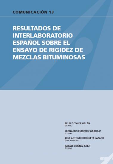 Resultados de interlaboratorio español sobre el ensayo de rigidez de mezclas bituminosas.