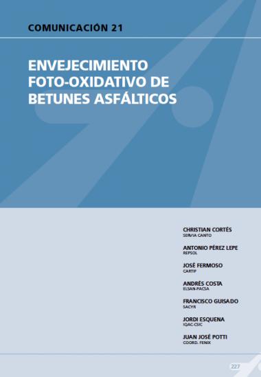 Envejecimiento foto-oxidativo de betunes asfálticos.