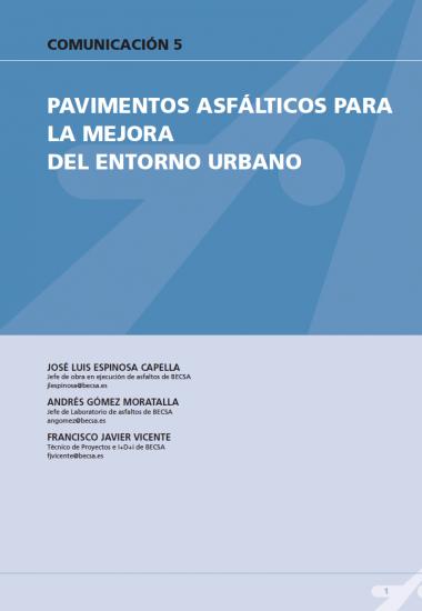Pavimentos asfálticos para la mejora del entorno urbano