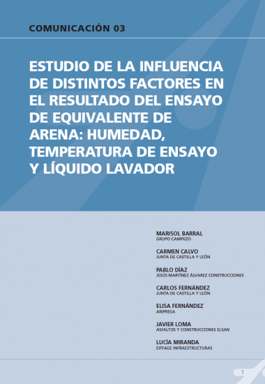 Estudio de la influencia de distintos factores en el resultado del ensayo de equivalente de arena: humedad, temperatura de ensayo y líquido lavador