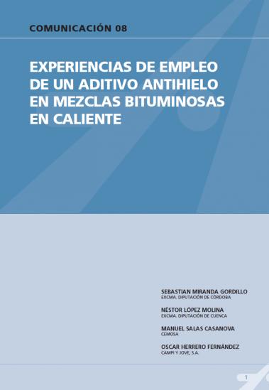 Experiencias de empleo de un aditivo antihielo en mezclas bituminosas en caliente