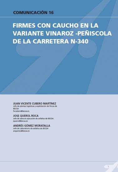 Firmes con caucho en la variante Vinaroz-Peñiscola de la carretera