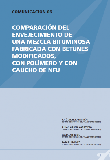 Comparación del envejecimiento de una mezcla bituminosa fabricada con betunes modificados, con polímeros y con caucho de NFU