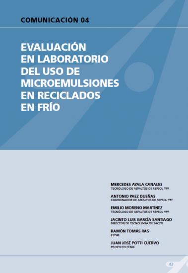 Evaluación en laboratorio del uso de microemulsiones en reciclados en frío.