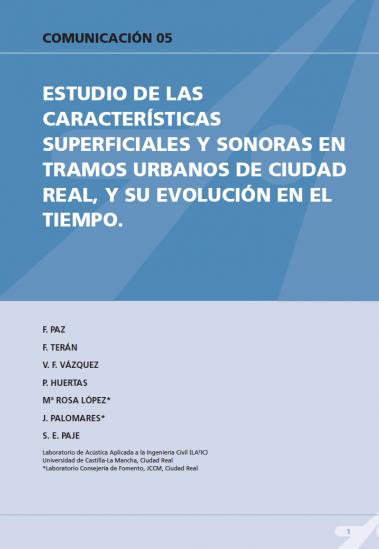 Estudio de las características superficiales y sonorosas en tramos urbanos de ciudad real, y su evolución en el tiempo