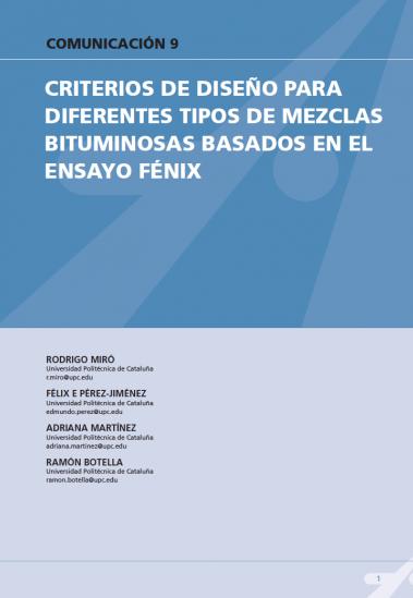 Criterios de diseño para diferentes tipos de mezclas bituminosas basados en el ensayo Fénix
