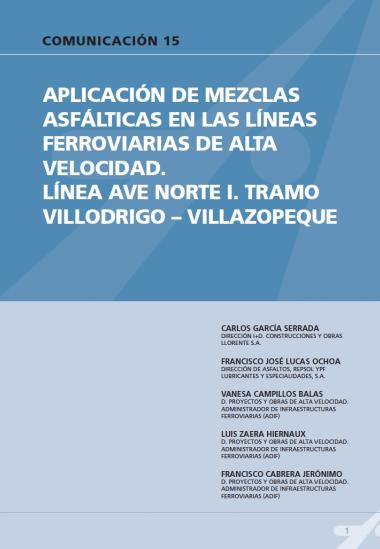Aplicación de mezclas asfálticas en las líneas ferroviarias de alta velocidad. Línea Ave Norte I. Tramo Villodrigo-Villazopeque