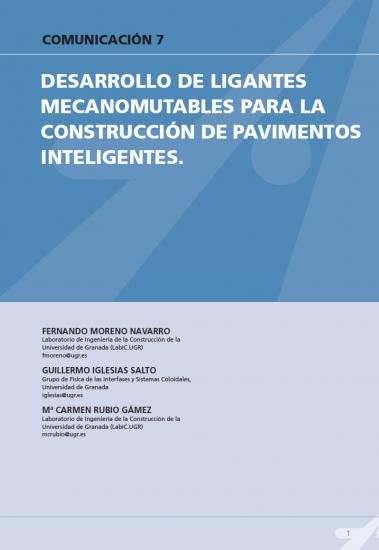 Desarrollo de ligantes mecanomutables para la construcción de pavimentos inteligentes