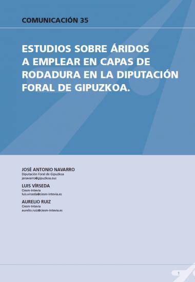 Estudios sobre áridos a emplear en capas de rodadura en la diputación foral de Guipúzcoa
