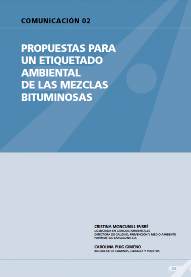 Propuestas para un etiquetado ambiental de las mezclas bituminosas.